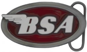 BSA Oval Logo (dark red) Belt Buckle with display stand (MK1)